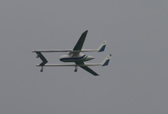 Tian Gong cargo drone, flying, side view