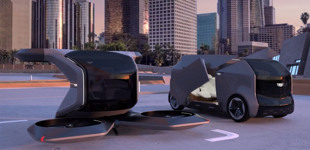 Cadillac VTOL (left) and Personal Autonomous Vehicle (right) concepts