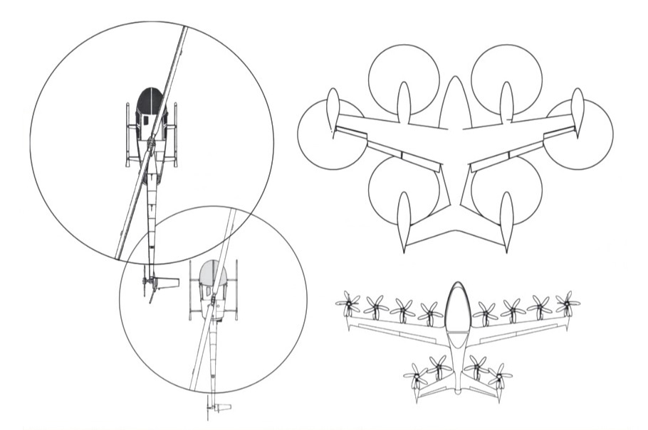 Joby S4 eVTOL aircraft patent displaying the aircraft from below