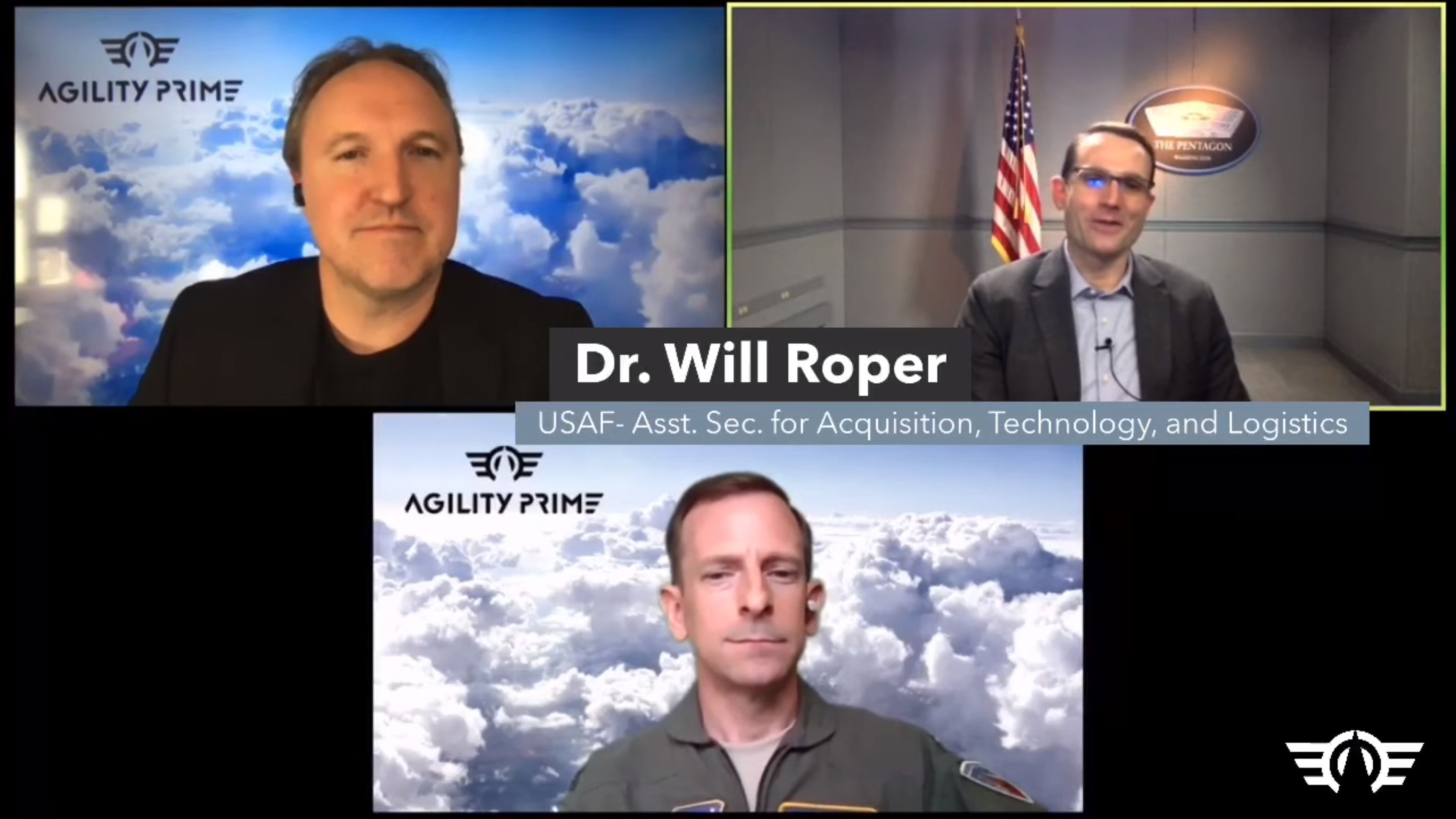 Agility Prime with Brandon Klein, Dr. Will Roper, Col. Nate Diller on April 27, 2020.