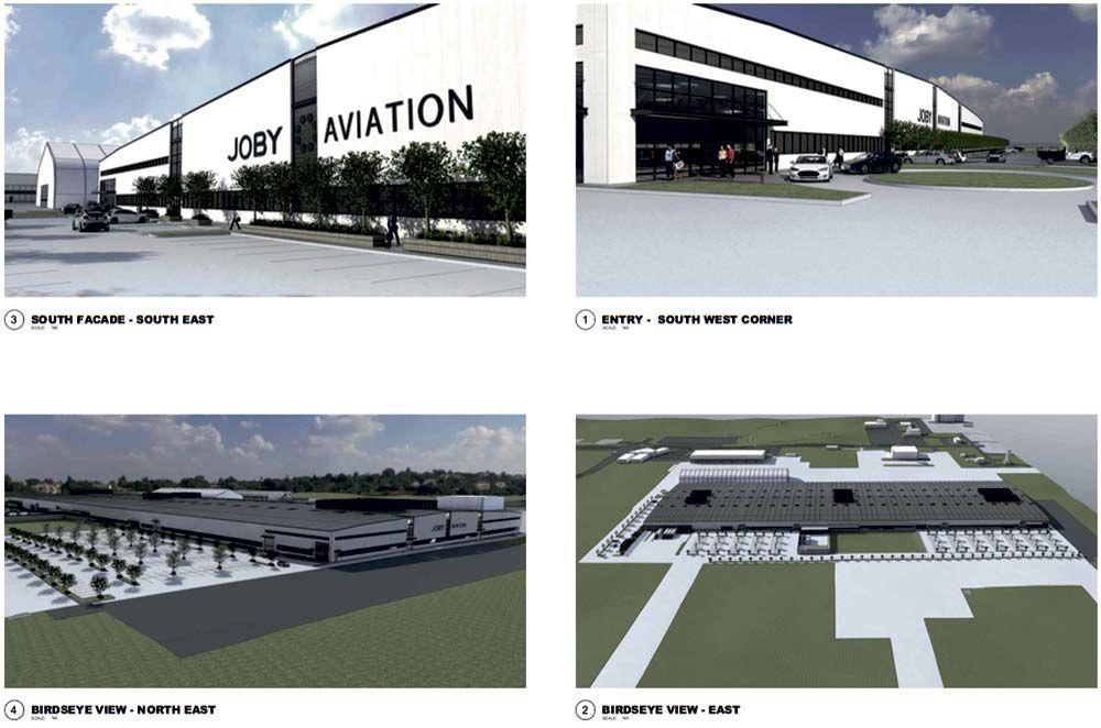 Joby announces in January 2020 plans for building a large manufacturing plant in Marina, California, USA. Construction to begin in April 2021.
