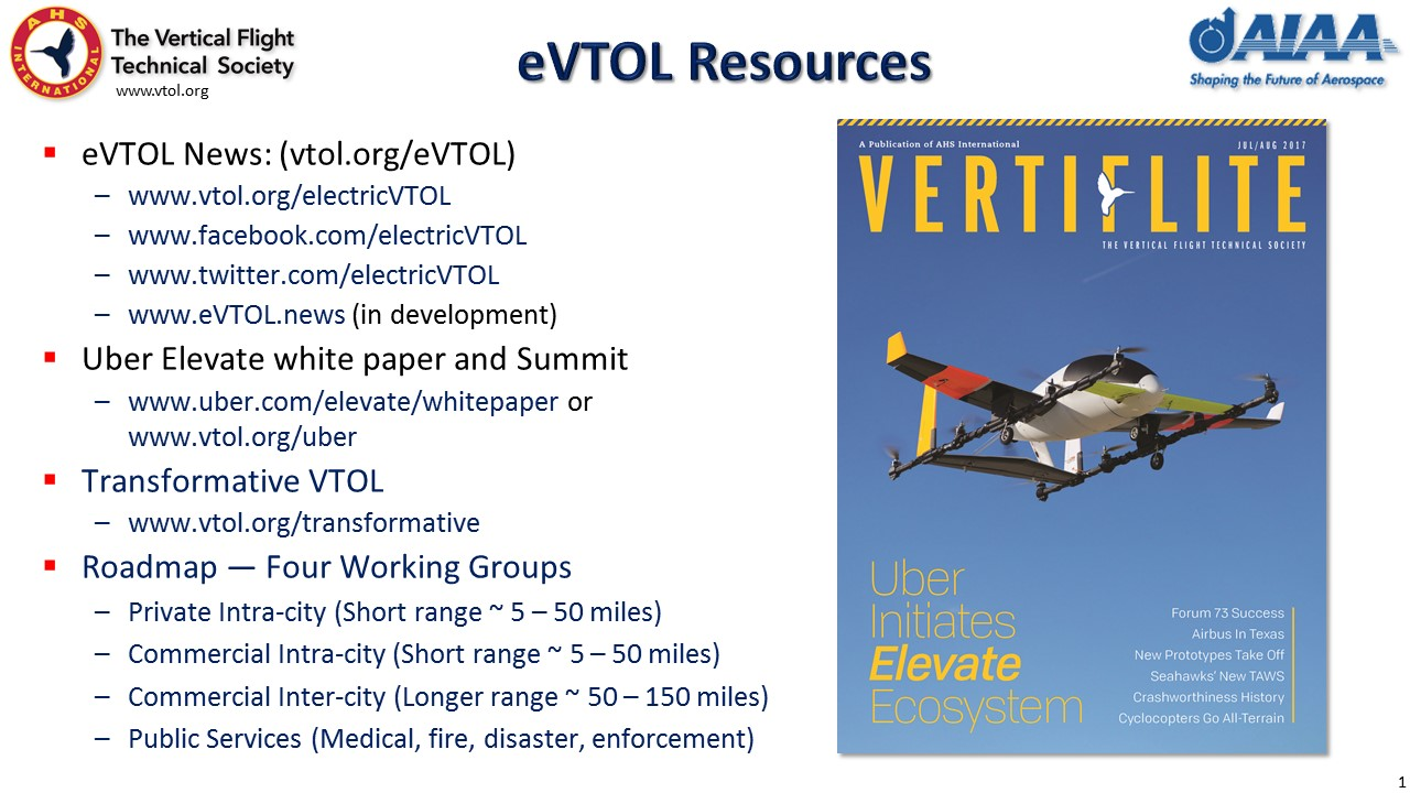 Briefing slide on eVTOL Resources